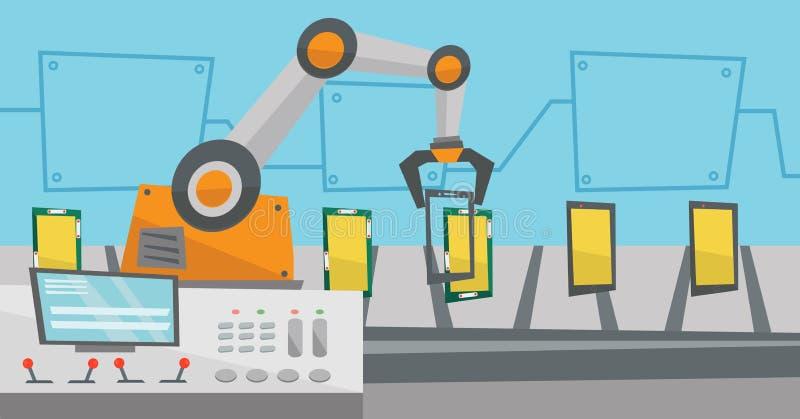 智能手机自动化的机器人生产线  向量例证