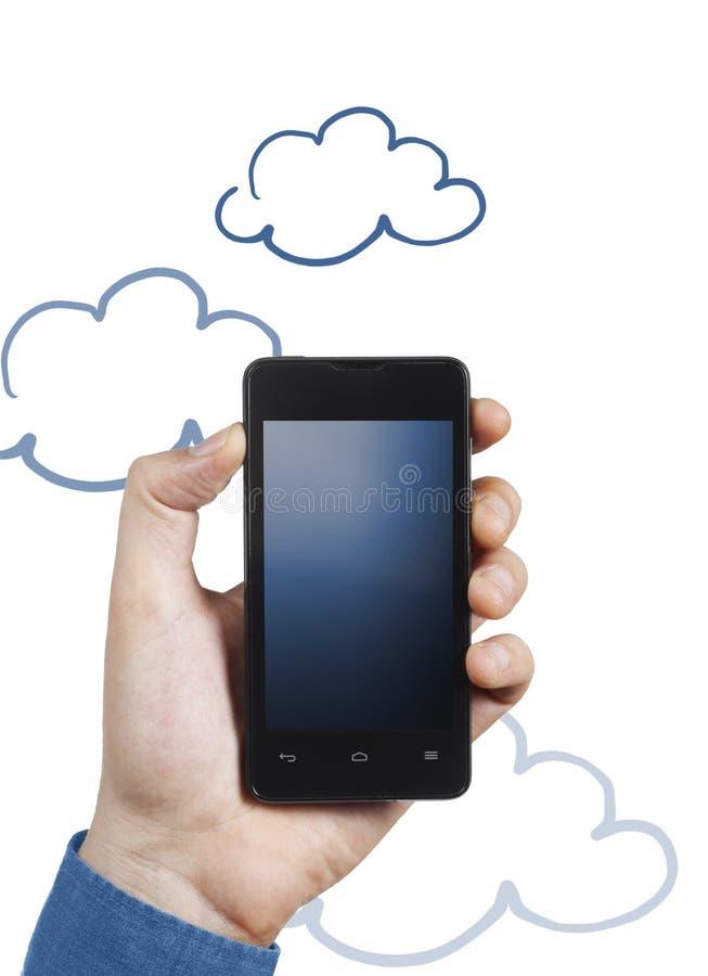 智能手机被连接到云彩 免版税图库摄影