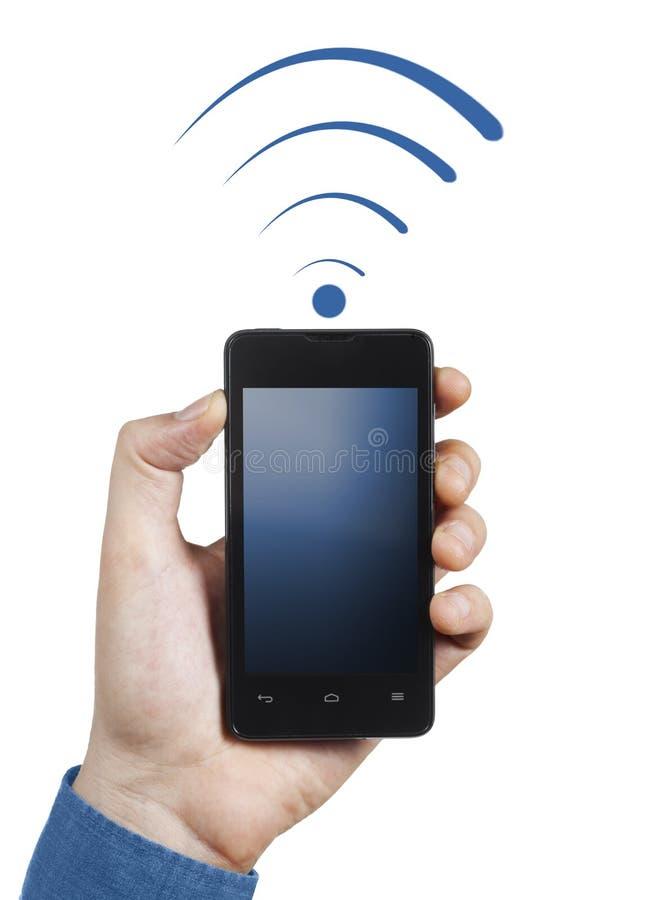 智能手机被连接到wi fi 库存图片