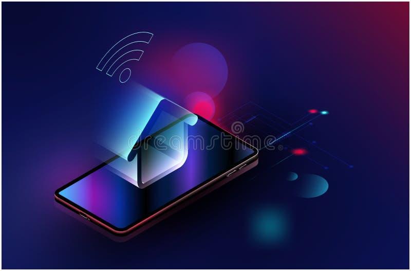 智能手机装置通过互联网,与空间的传染媒介未来派聪明的家庭技术控制安全系统内容的, 库存例证