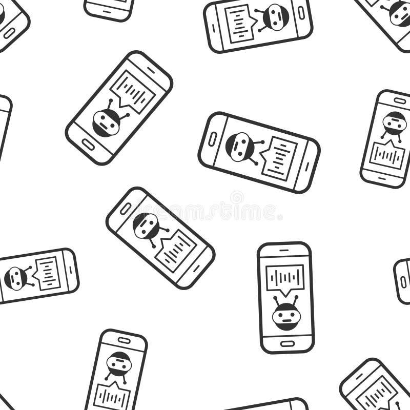 智能手机象无缝的样式背景的声音助理 在白色被隔绝的背景的合理的记录传染媒介例证 向量例证
