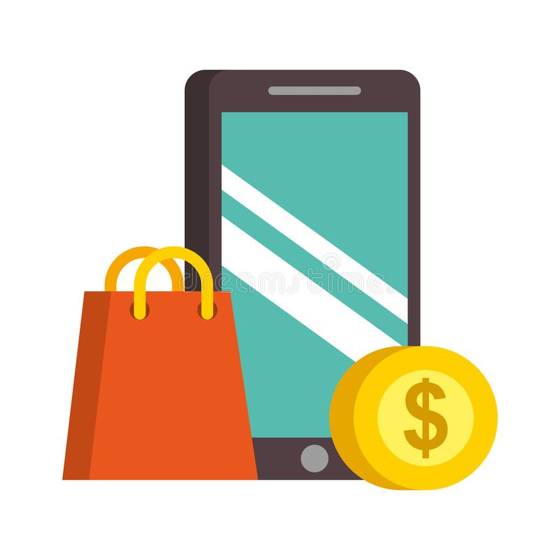 智能手机购物带来金钱nfc付款 库存例证