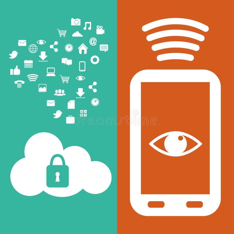 智能手机连接安全云彩数据媒介 库存例证