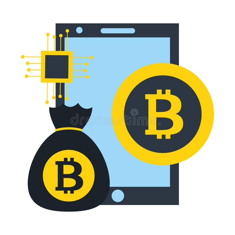 智能手机金钱袋子bitcoin cryptocurrency fintech 库存例证
