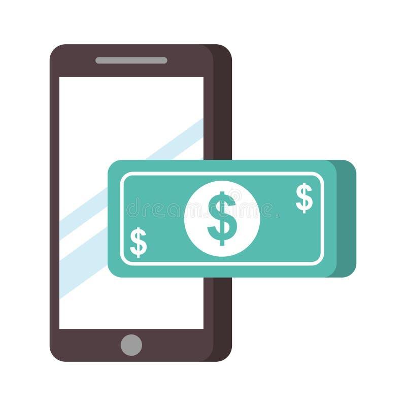 智能手机钞票金钱nfc付款 皇族释放例证