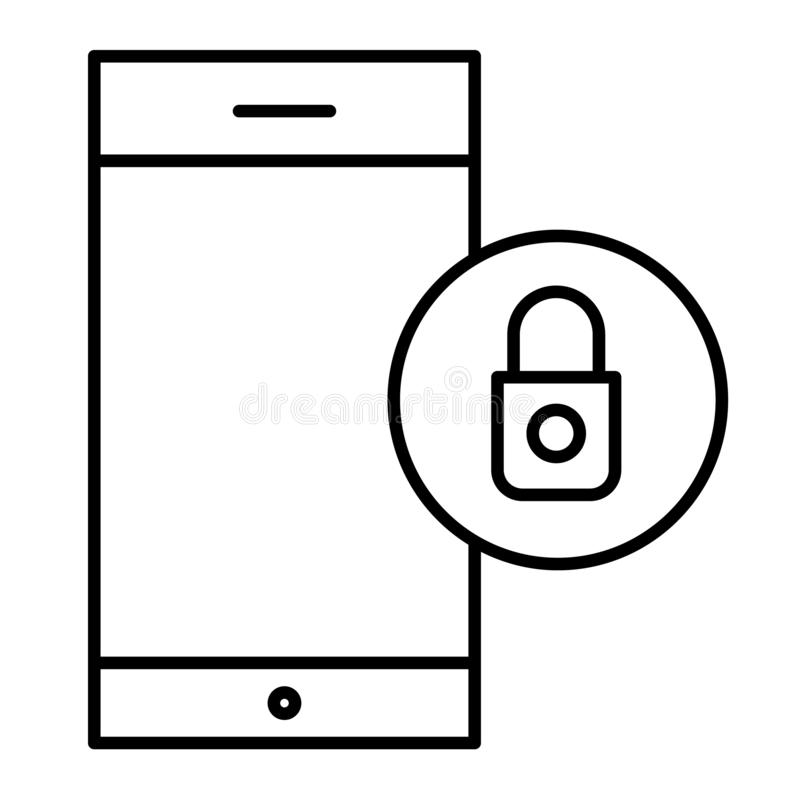 智能手机锁屏幕稀薄的线象 在智能手机在白色隔绝的传染媒介例证的安全 移动电话 库存例证