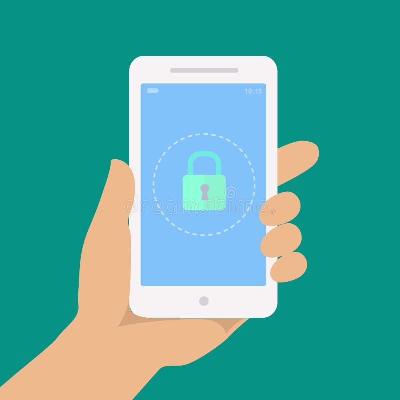 智能手机锁屏幕 手举行智能手机, 向量例证