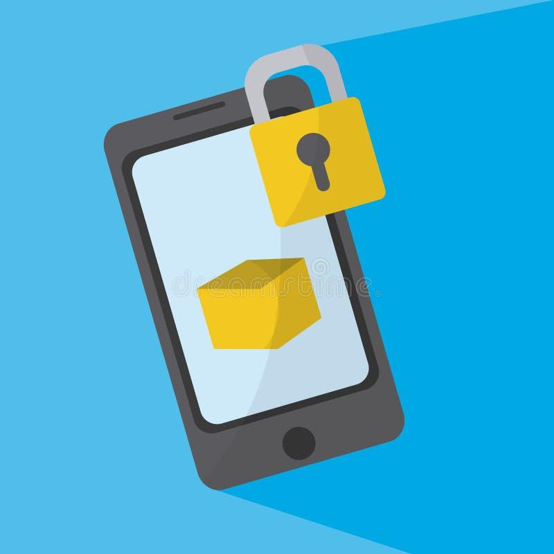 智能手机锁着的标志 库存例证