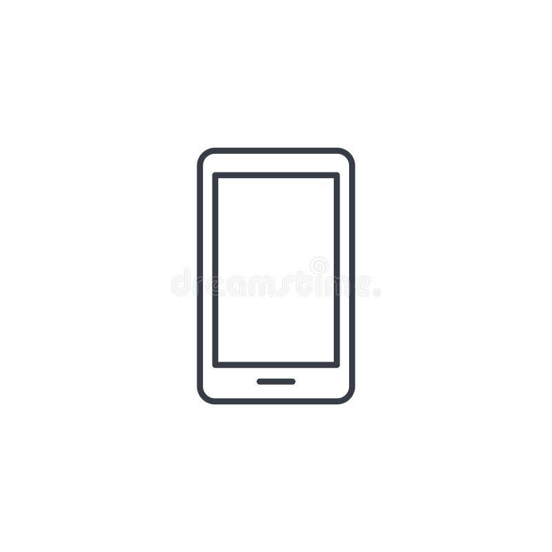 智能手机,手机稀薄的线象 线性传染媒介标志 向量例证