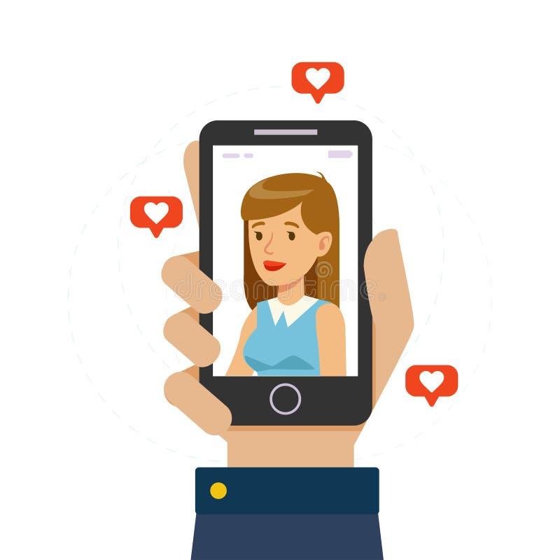 智能手机,拿着有女朋友的男性手显示的美女手机在屏幕上,在网上约会 库存例证