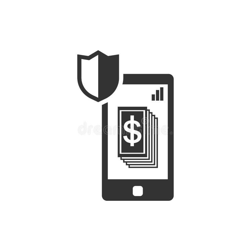 智能手机,盾,安全金钱传染媒介象 r 皇族释放例证