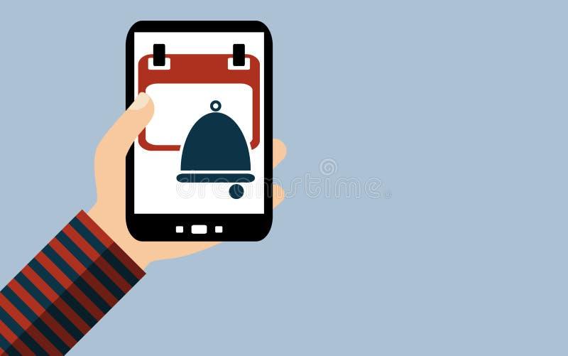智能手机:导入约会-日历提醒-平面设计 皇族释放例证