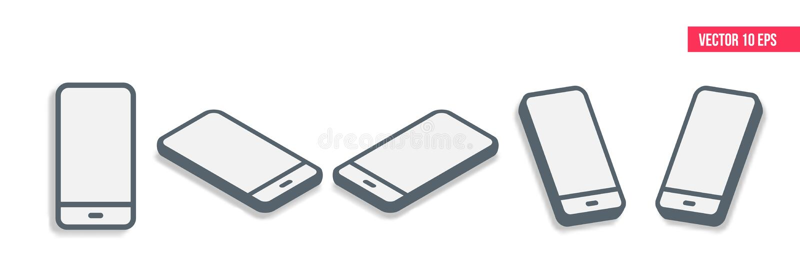 智能手机3d等量平的设计 手机,移动设备 通信和管理现代技术  皇族释放例证