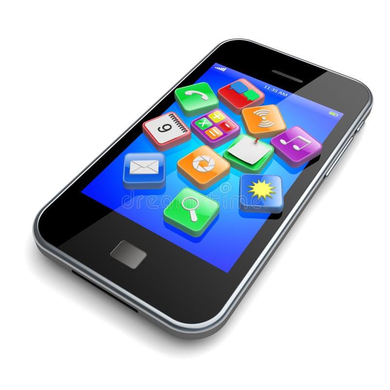 智能手机apps象 向量例证