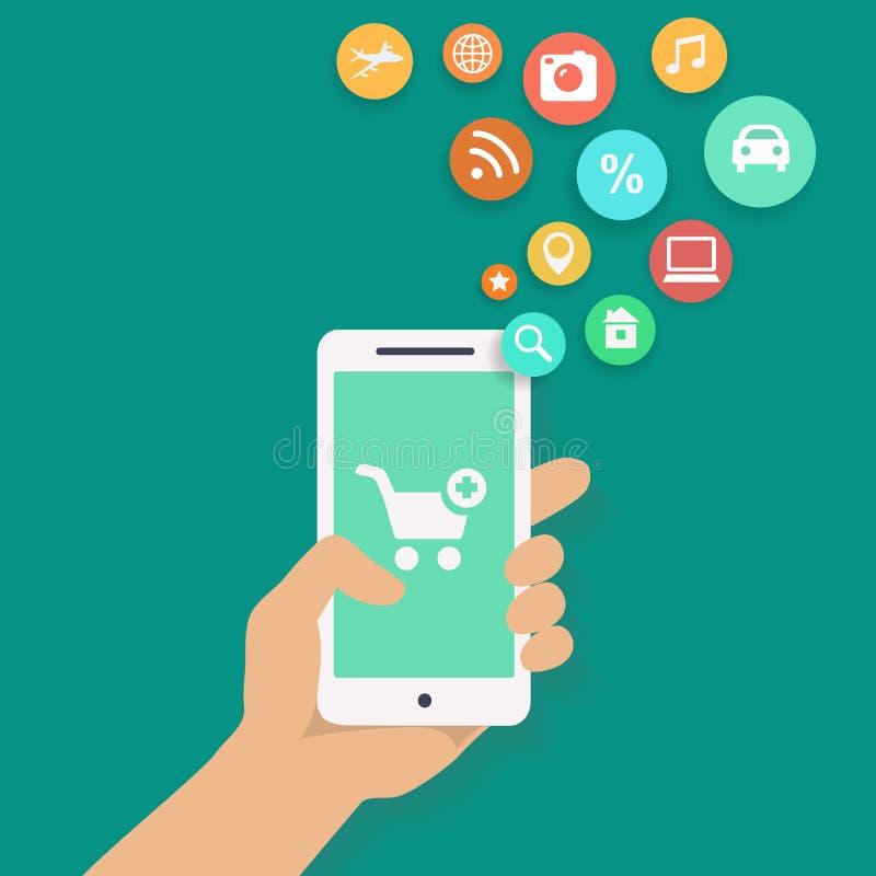 智能手机apps购物的infographics用手 皇族释放例证
