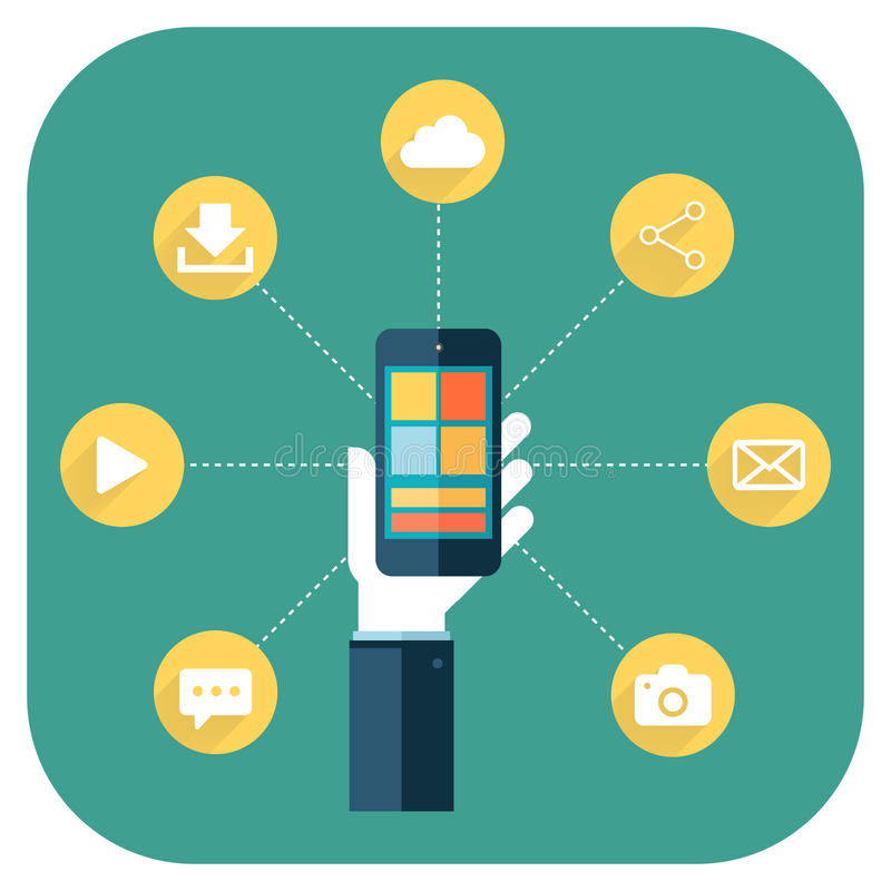 智能手机apps infographics用拿着电话的手 向量例证