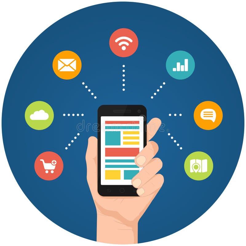 智能手机apps infographics 皇族释放例证