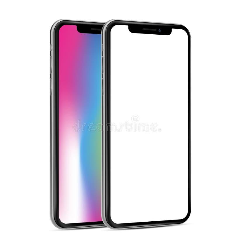 智能手机frameless并行的黑屏透视图 向量例证