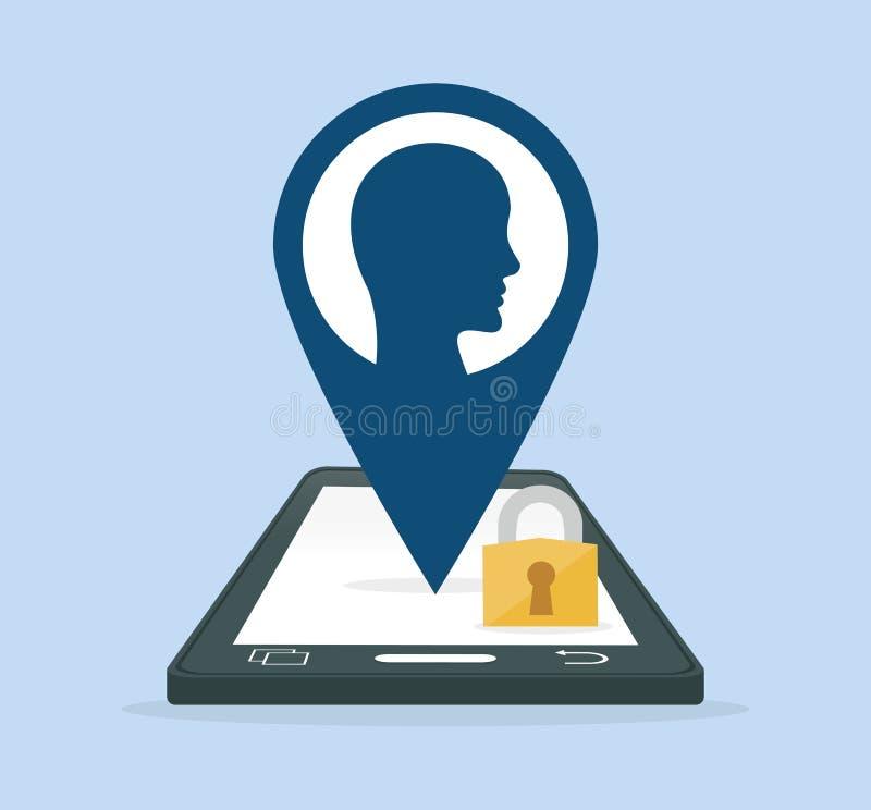 智能手机gps挂锁互联网安全 库存例证