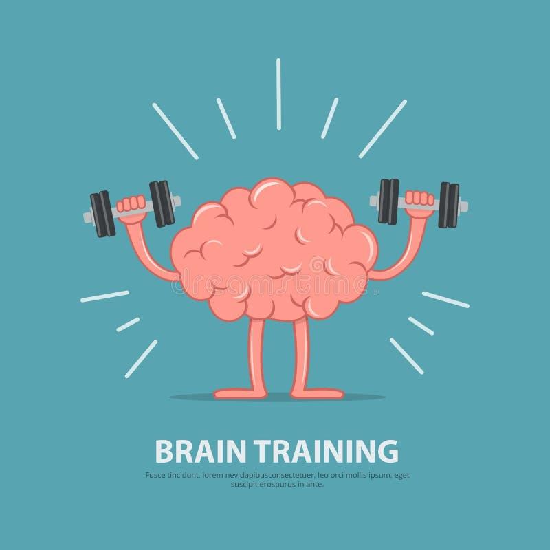 智能 脑子锻炼 动画片脑子字符举的哑铃 皇族释放例证