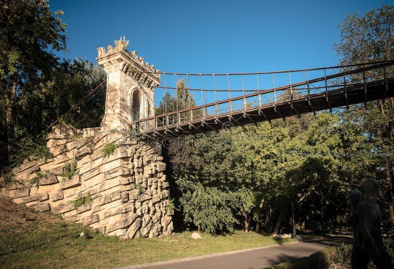 暂停的桥梁在Romanescu公园克拉约瓦 库存照片