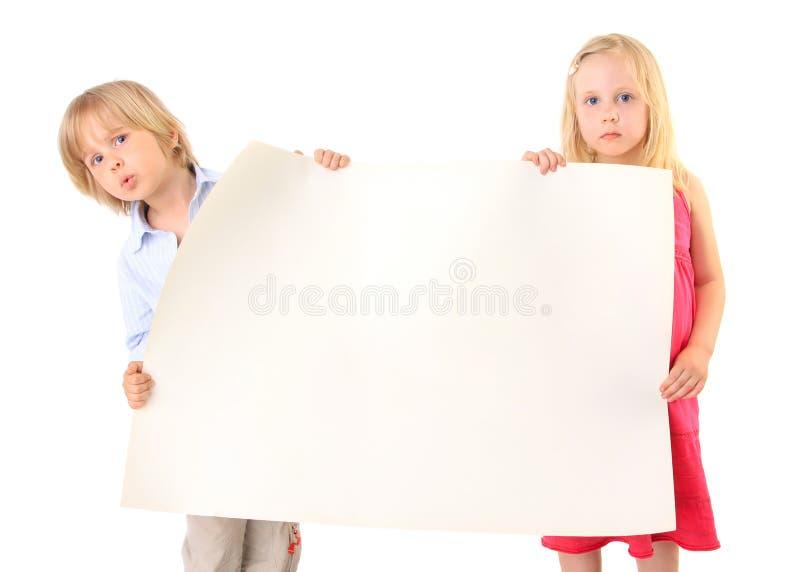暂挂纸白色的空白纸板子项 库存照片