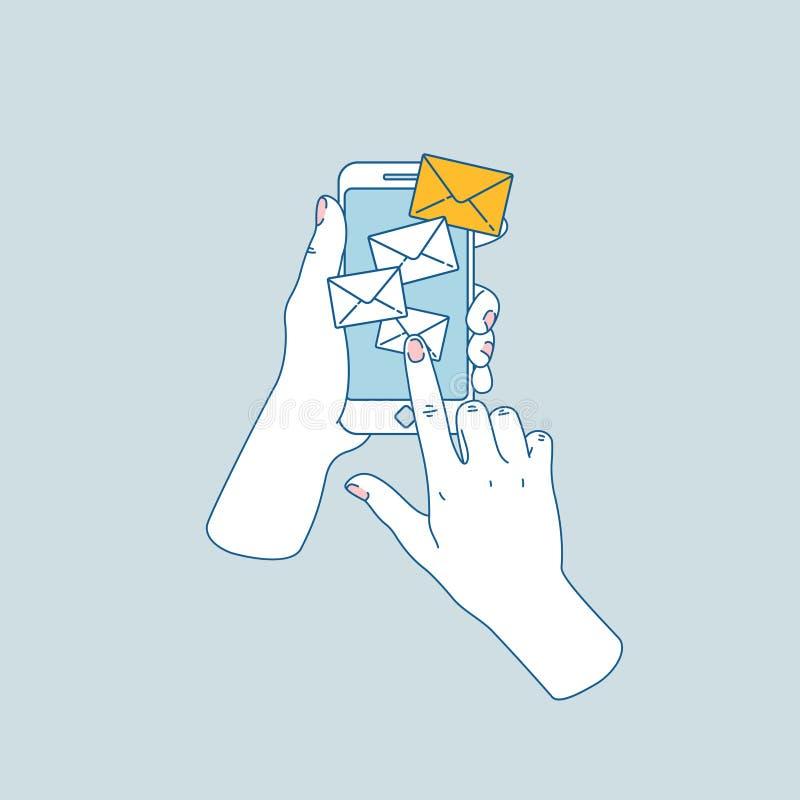 暂挂smartphone的妇女现有量 在电子邮件的新的消息 也corel凹道例证向量 皇族释放例证
