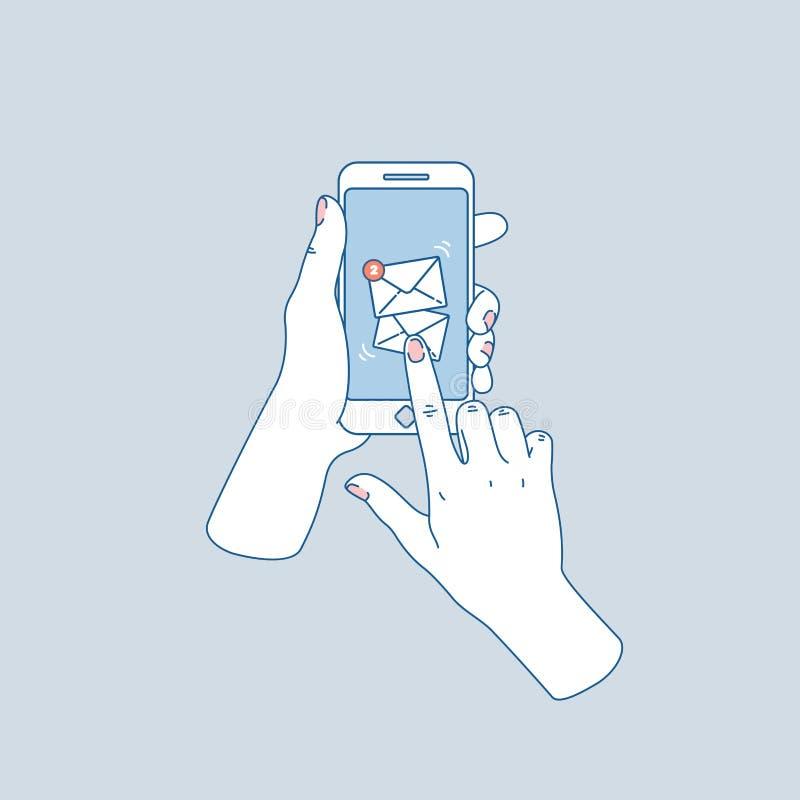 暂挂smartphone的妇女现有量 新的消息 社会媒介通知 也corel凹道例证向量 向量例证