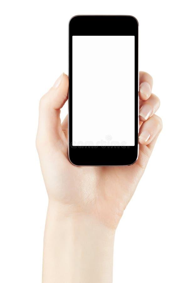 暂挂smartphone的妇女现有量 免版税库存照片