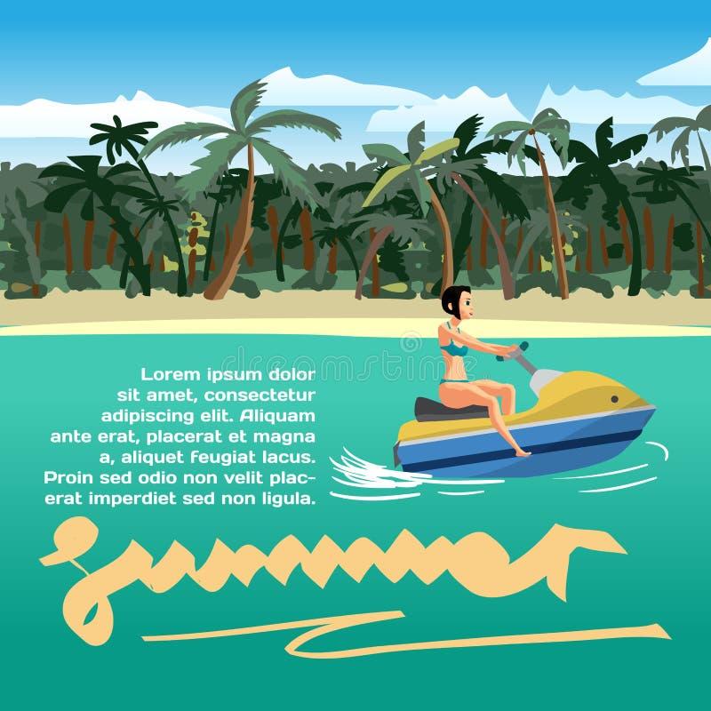 暑假与空间的概念背景文本的 年轻wo 向量例证