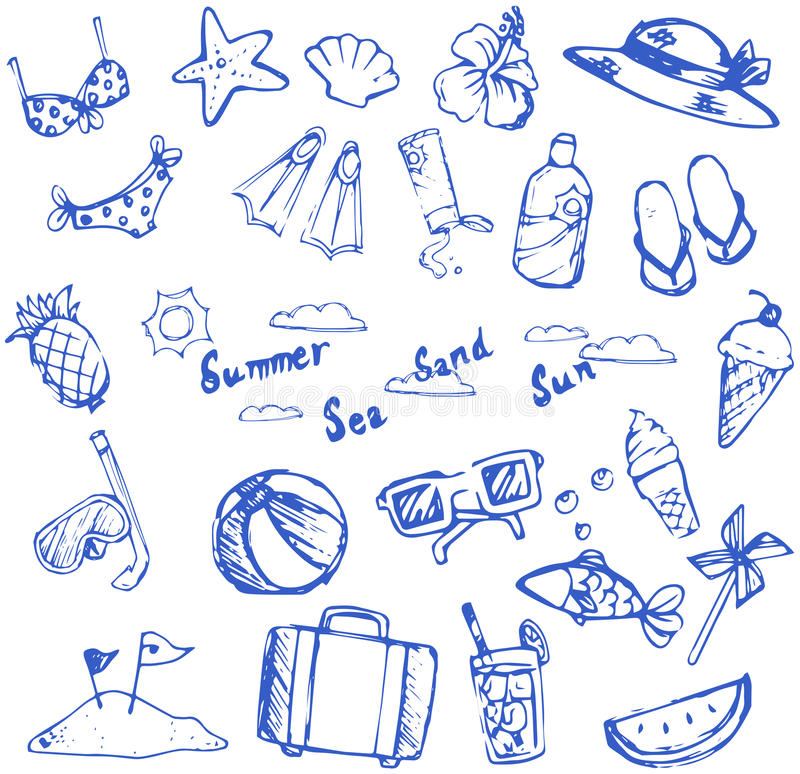 暑假乱画象和休闲炫耀项目和海洋美洲黑杜鹃 库存例证