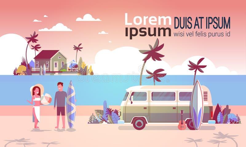 暑假人妇女海浪公共汽车日落热带海滩减速火箭的冲浪的葡萄酒别墅海岛水平的拷贝空间 皇族释放例证
