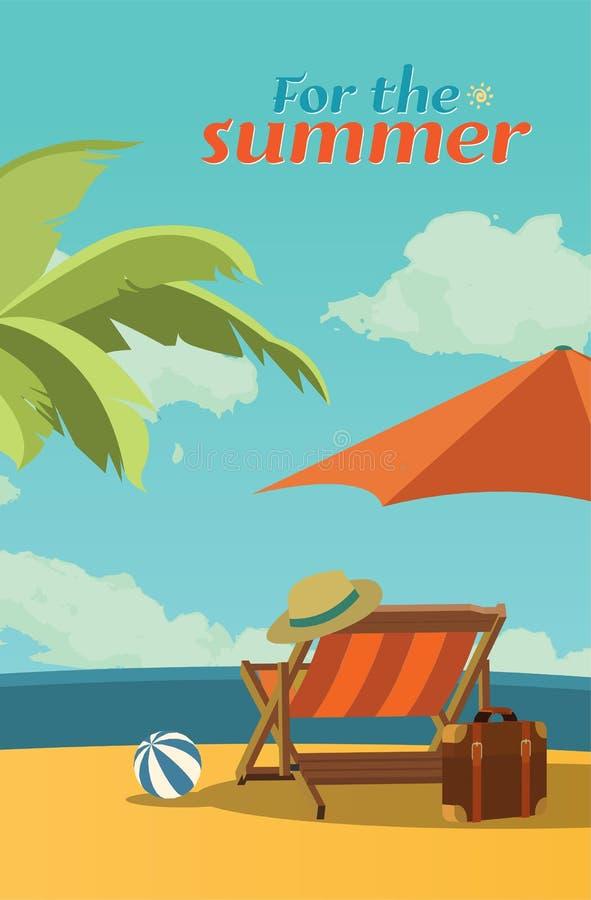 暑假例证、平的设计浪漫遮阳伞和海滩概念 库存例证