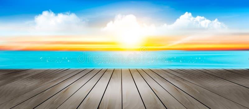暑假全景 与蓝色海和日落的热带海滩 库存例证