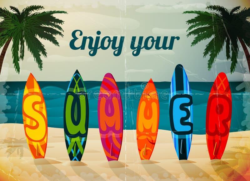 暑假冲浪板海报 向量例证