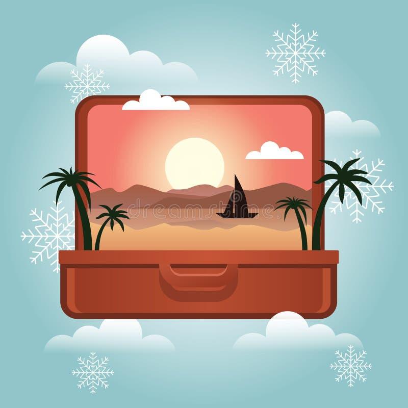 暑假在冬天 计划寒假 开张有里面一个热带海岛的手提箱 旅行和旅游业 皇族释放例证