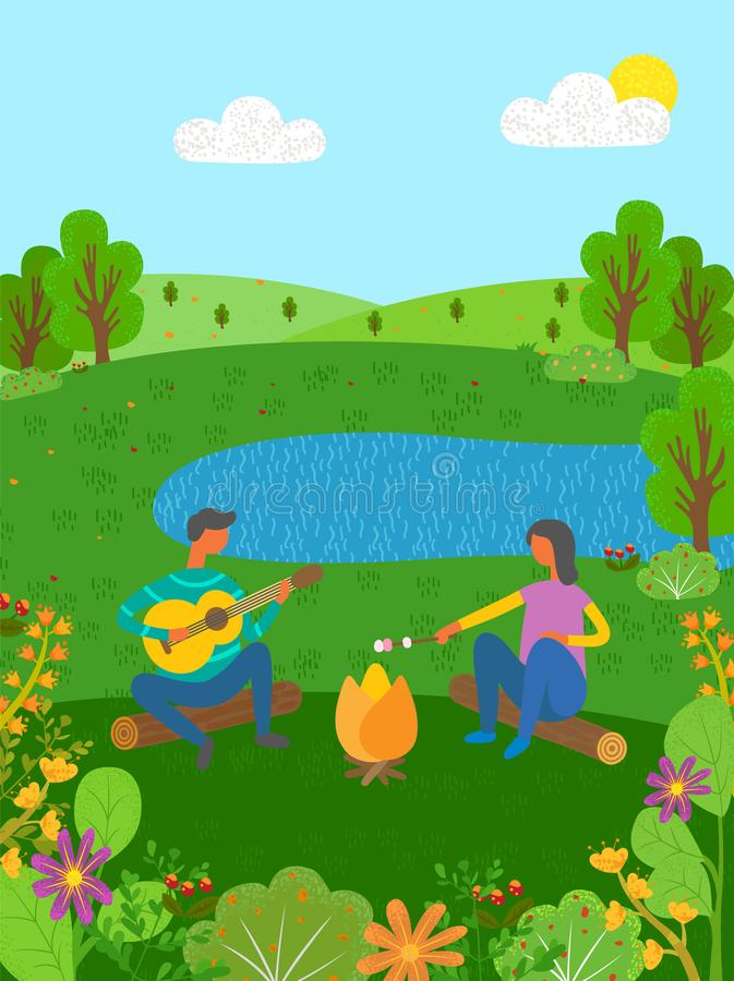 暑假在自然声学吉他结合 向量例证