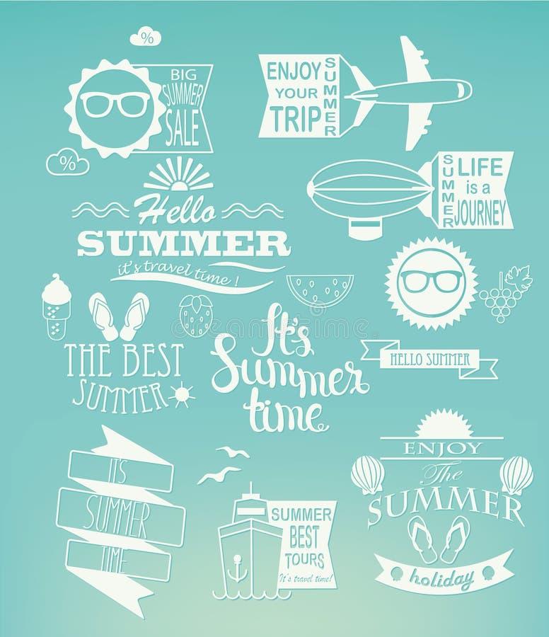 暑假在蓝色背景的设计元素 库存例证