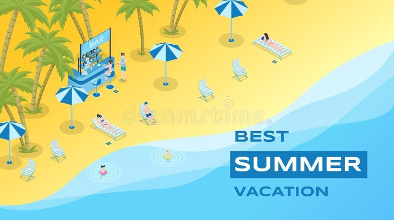 暑假平的横幅传染媒介模板 夏令时休闲,热带手段,季节性休闲海报概念 皇族释放例证