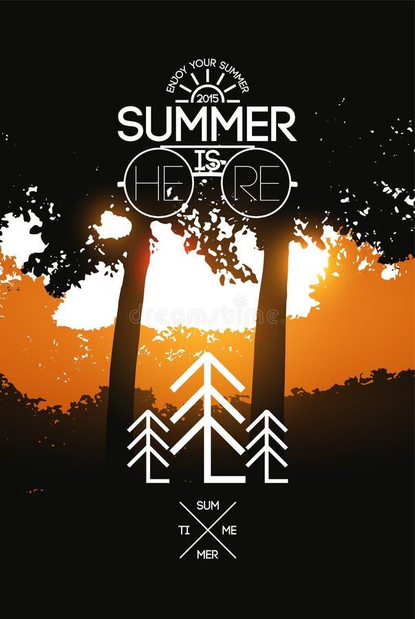 暑假海报 传染媒介在日落背景的印刷术设计 10 eps 向量例证