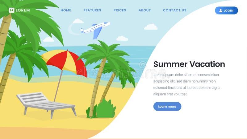 暑假登陆的页传染媒介模板 皇族释放例证