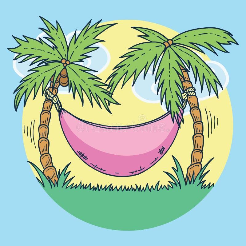 暑假的手拉的例证在热带海滩五颜六色的日落的与棕榈树和吊床 皇族释放例证
