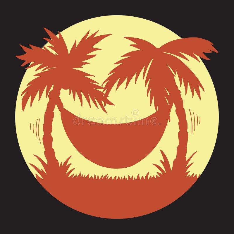 暑假的手拉的例证在热带海滩黄色和橙色剪影日落的与棕榈树和吊床 库存例证