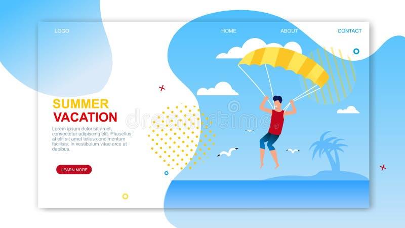 暑假着陆页提供帆伞运动 皇族释放例证