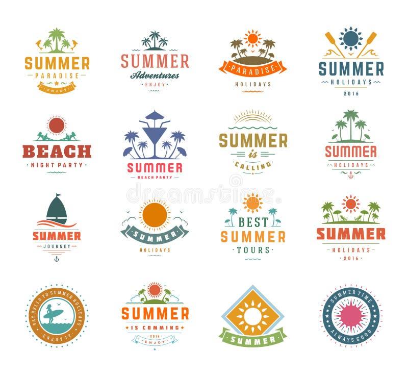暑假设计元素和印刷术集合 减速火箭的葡萄酒模板标签或徽章 库存例证