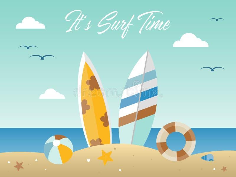 暑假,夏天海滩海报传染媒介例证 库存例证
