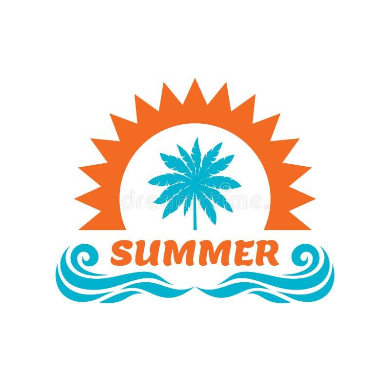 暑假-传染媒介例证 棕榈,太阳,海波浪 徽章商标设计 向量例证