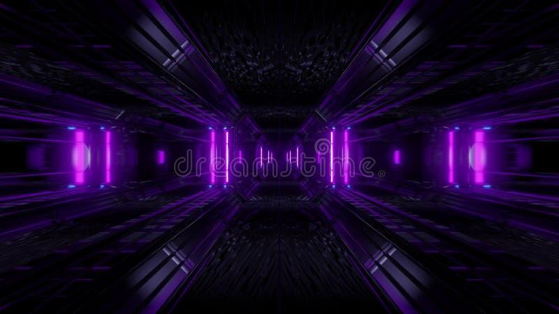 暗区科学幻想小说与抽象纹理背景3d例证的隧道背景 向量例证
