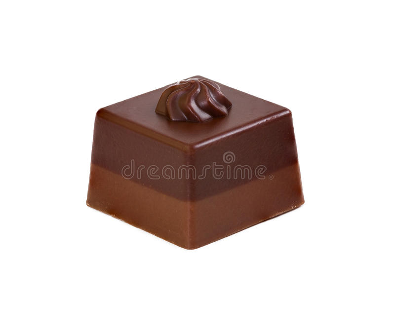 黑暗和牛奶巧克力糖果  免版税图库摄影
