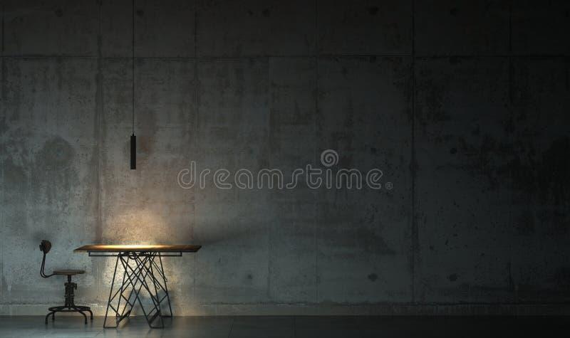暗室在与一张桌和一把椅子的微明下 在顶楼样式的阴沉的内部与拷贝空间 3d?? 库存例证